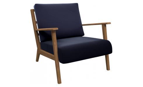 Armchair in Super Velvet fabric, dark blue