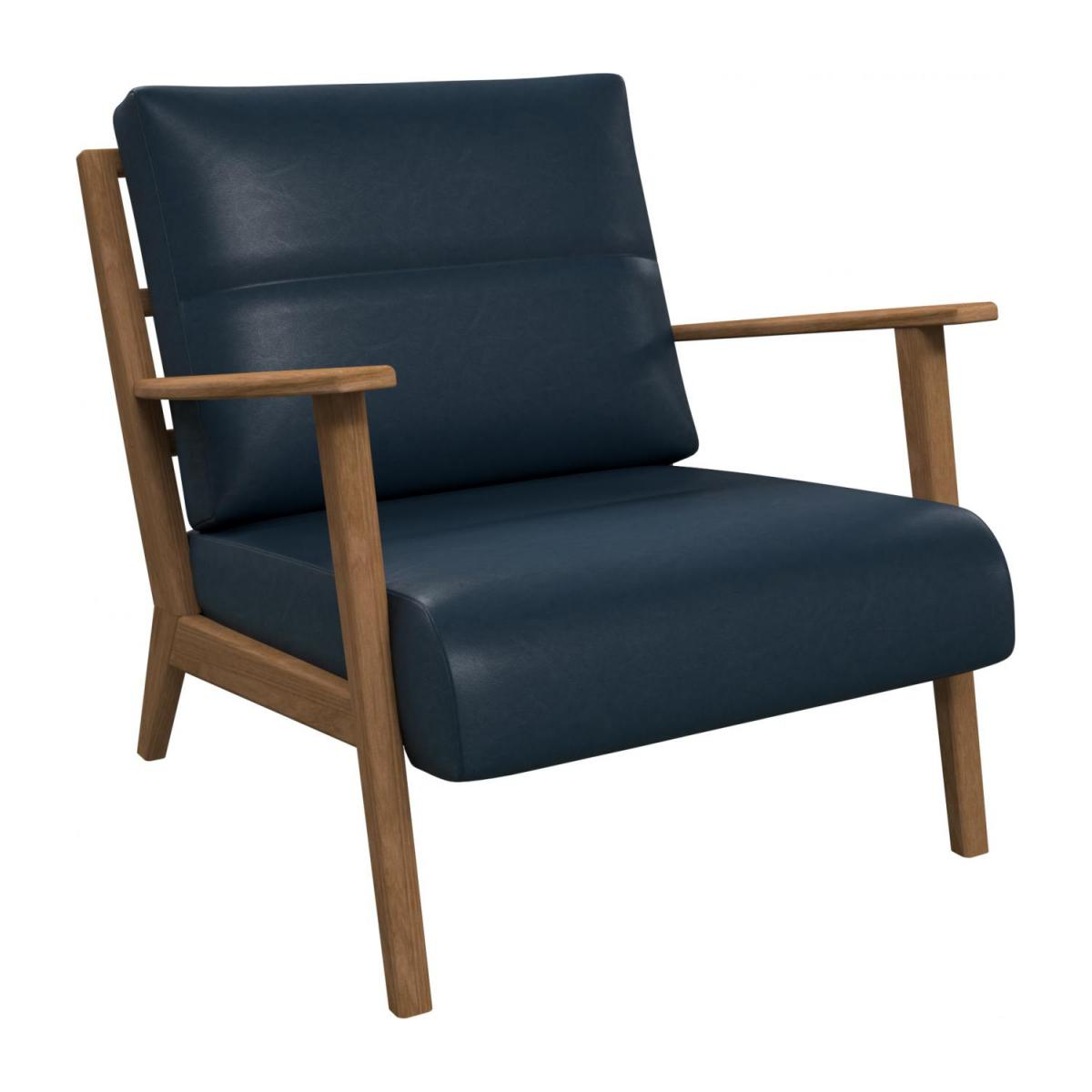 Armchair in Vintage aniline leather, denim blue n°1