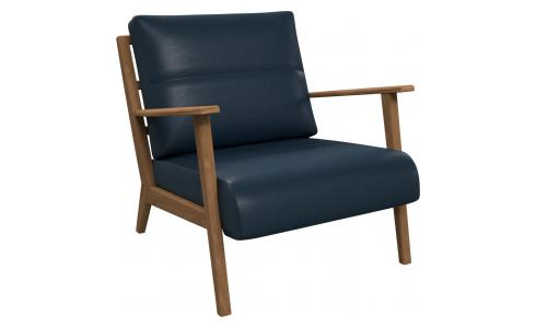 Fauteuil en cuir aniline Vintage Leather denim blue