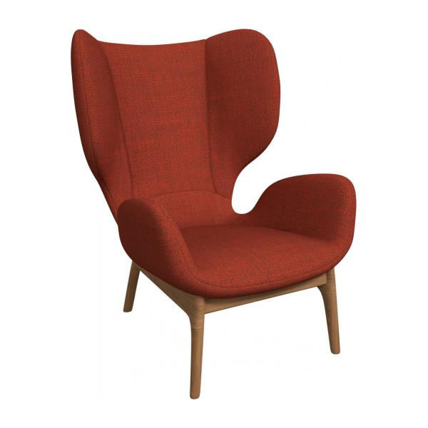 Armchair in Fasoli fabric, warm red rock n°1