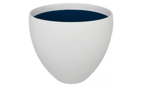 Stoneware Planter White with Blue Inside S