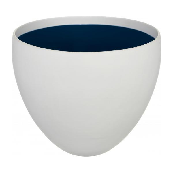 lauriane cache pot en gr s blanc int rieur bleu taille l habitat. Black Bedroom Furniture Sets. Home Design Ideas