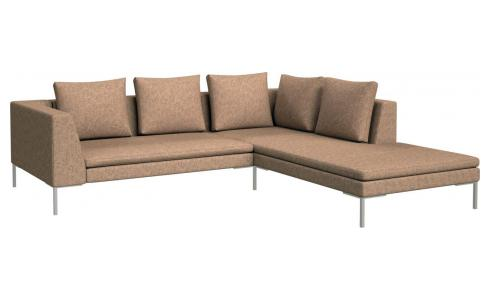 2-Sitzer Sofa aus Stoff Bellagio passion orange mit Chaiselongue rechts