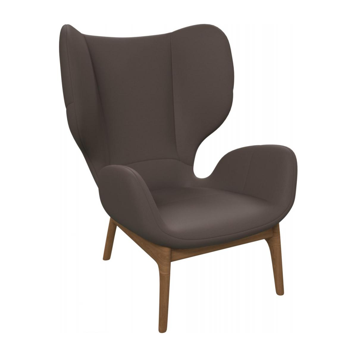 Armchair in Eton veined leather, stone n°1