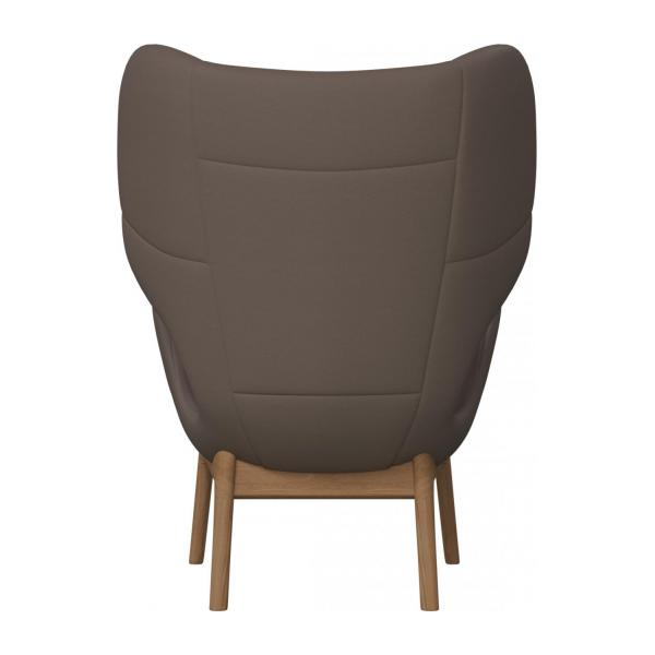 Armchair in Eton veined leather, stone n°3