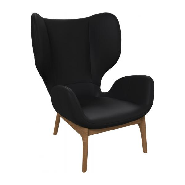 Armchair in Eton veined leather, black n°1