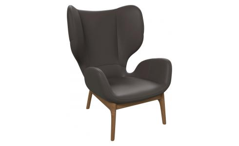 Armchair in Pullman aniline leather, stone