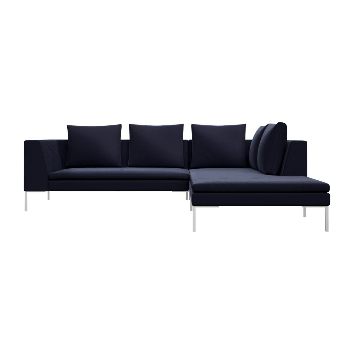 2 seater sofa with chaise longue on the right in Super Velvet fabric, dark blue  n°2