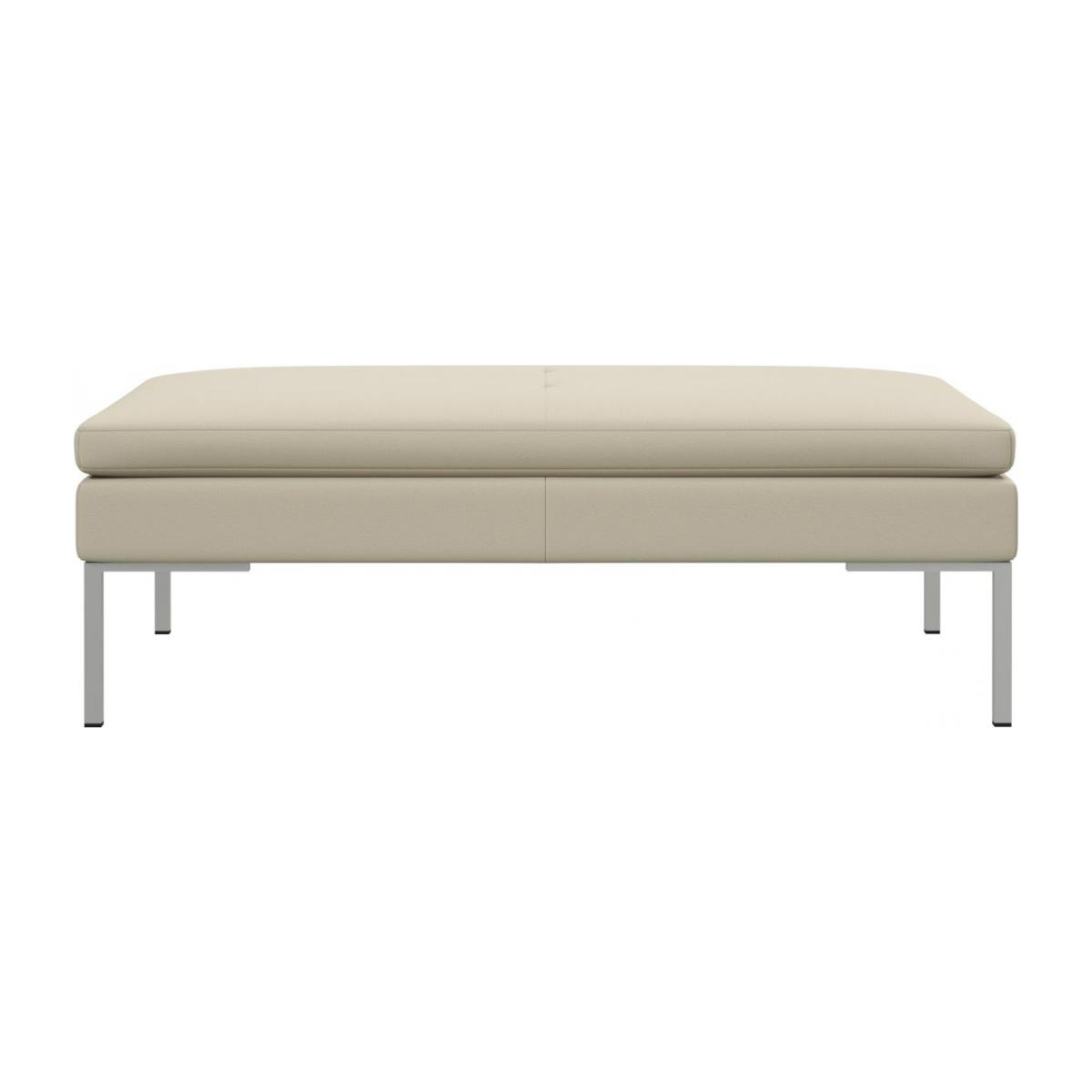 Footstool in Savoy semi-aniline leather, off white n°2