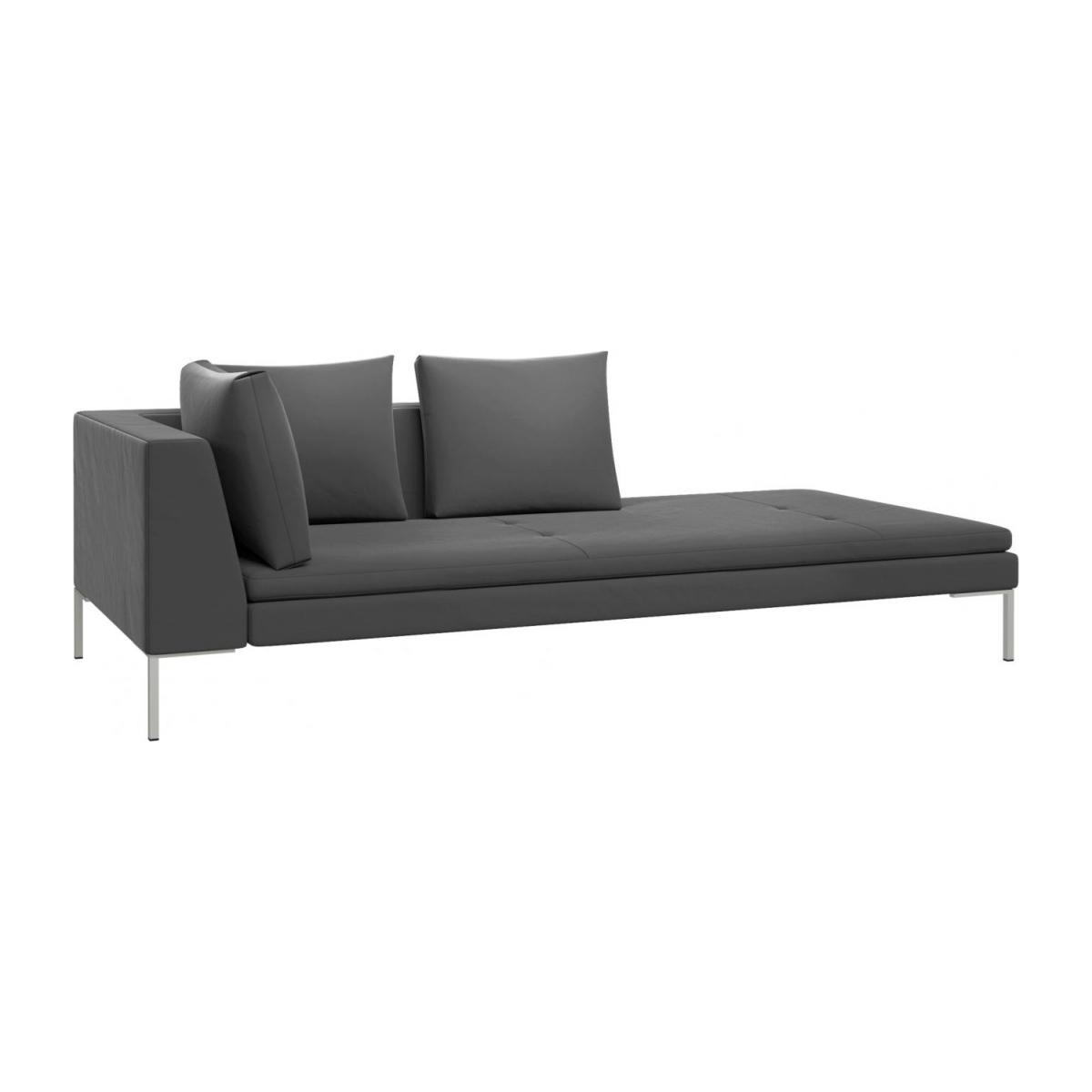 Right chaise longue in Super Velvet fabric, silver grey