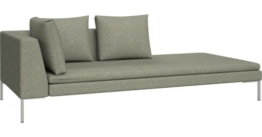 Montino right chaise longue in bellagio fabric organic for Bellagio leather chaise