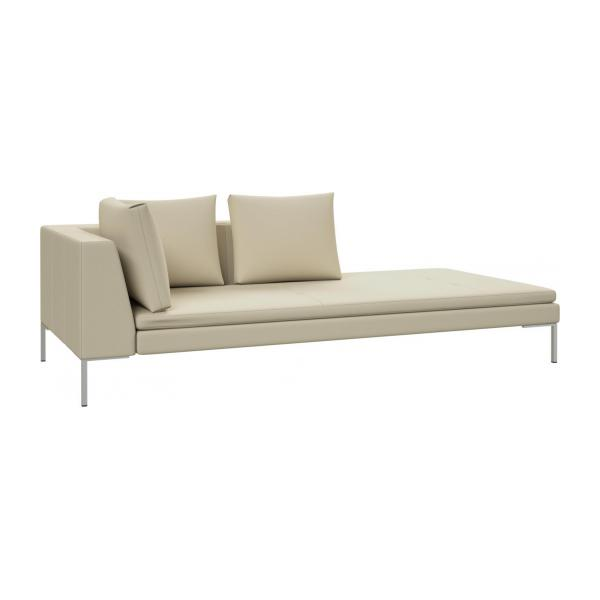Montino Right chaise longue in Savoy semi aniline leather off