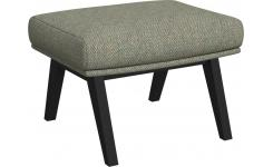 Footstool in Bellagio fabric, organic green with dark legs