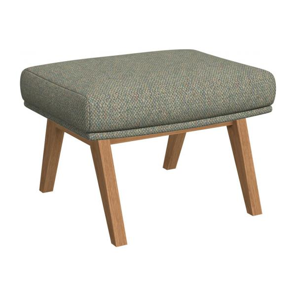 Footstool in Bellagio fabric, organic green with oak legs