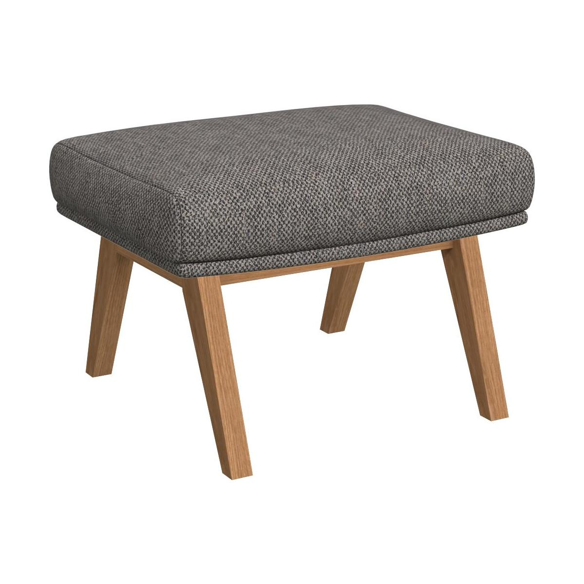 Footstool in Bellagio fabric, night black with oak legs n°1