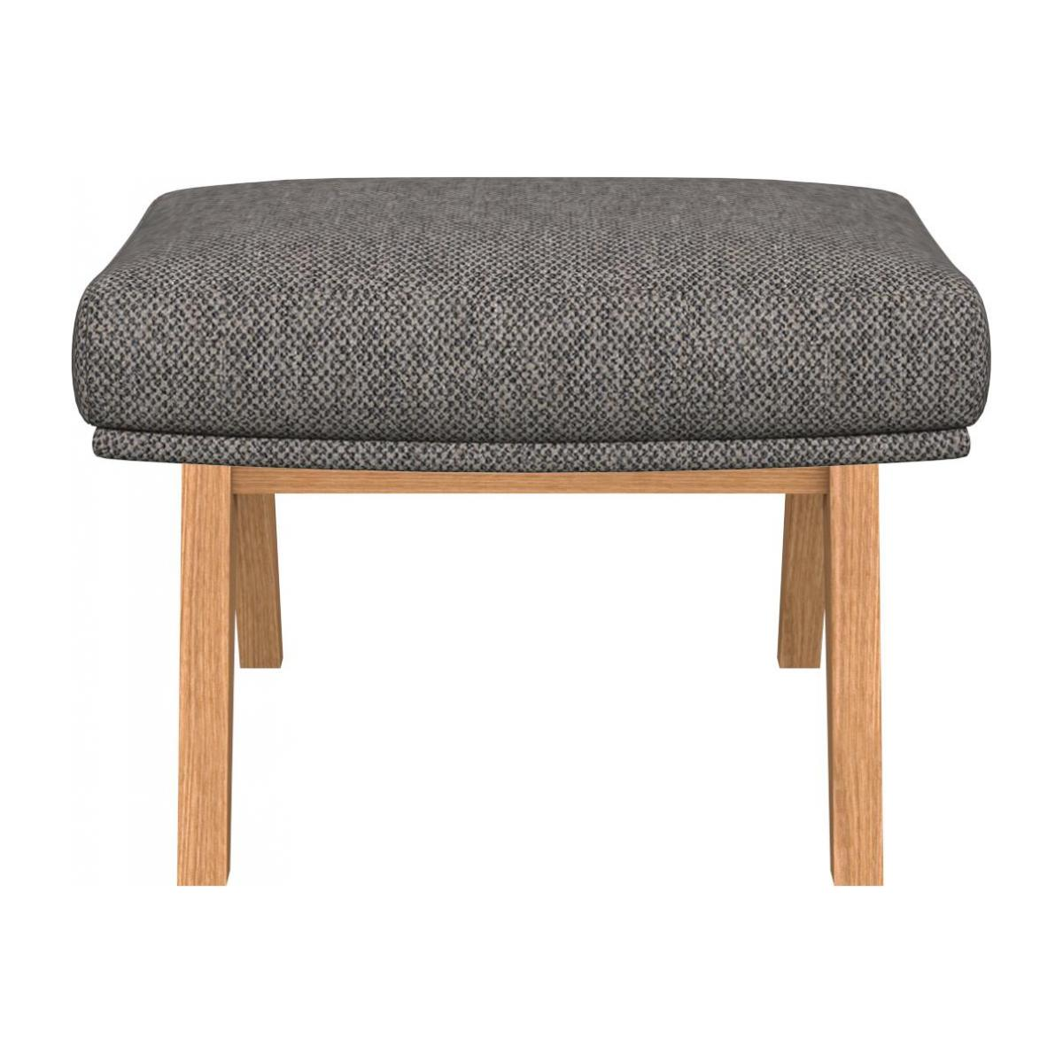 Footstool in Bellagio fabric, night black with oak legs n°2