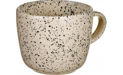 Black Patterned Stoneware Mug Cream