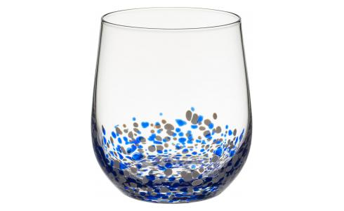 Patterned Mouthblown Glass Tumbler Blue