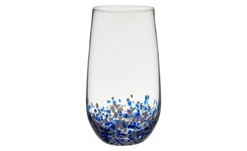 Patterned Mouthblown High-Ball Glass Tumbler Blue