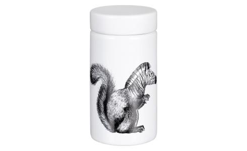 Squirrel Patterned Earthenware Spice Jar White