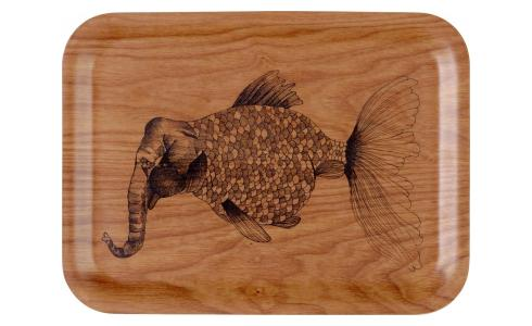 Elephant Patterned Wood Tray Rectangular 20x27cm