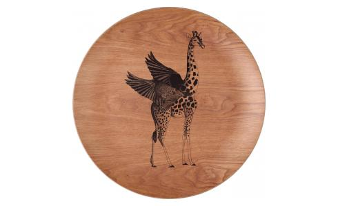 Giraffe Patterned Wood Round Tray 41cm