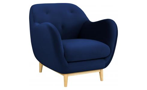 Armchair made of velvet, blue
