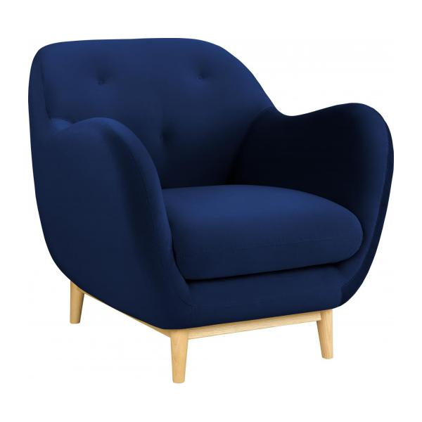 melchior fauteuil en velours bleu habitat habitat. Black Bedroom Furniture Sets. Home Design Ideas
