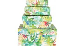 Luna Patterned Paper Boxes Set of 4
