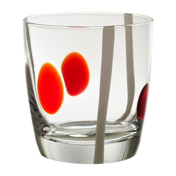 Red and White Patterned Small Glass Tumbler n°1