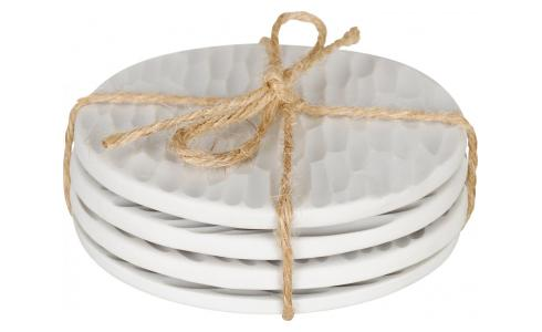 Porcelain Coasters White x4