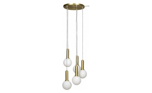 Suspension 5 globes - Laiton
