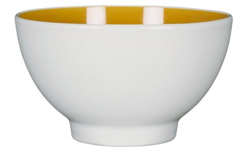 Stoneware Bowl White and Yellow Mustard D15cm