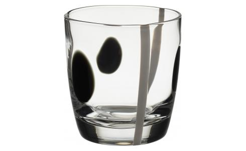 Black and White Patterned Mouthblown Recycled Glass Tumbler