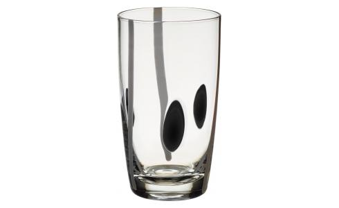 Black and White Patterned Mouthblown Recycled Glass High-Ball Tumbler