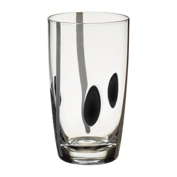 Black and White Patterned Mouthblown Recycled Glass High-Ball Tumbler n°1