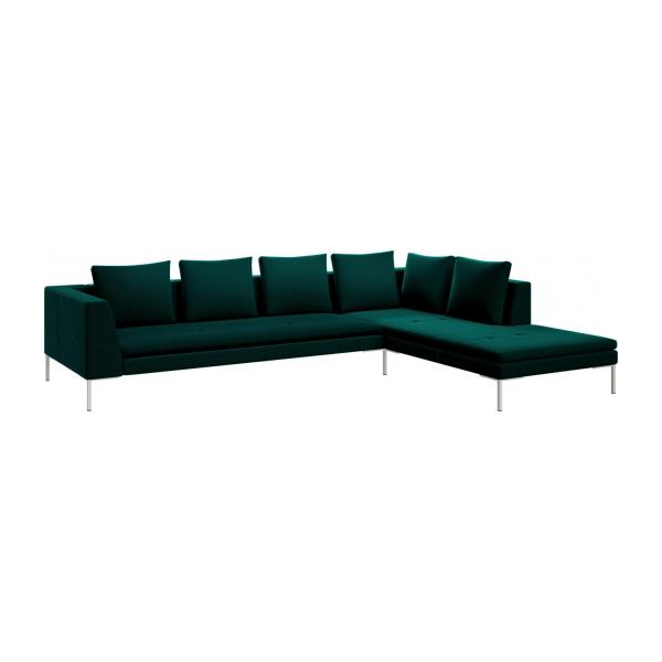 montino 3 sitzer sofa aus samt super velvet petrol blue mit chaiselongue rechts habitat. Black Bedroom Furniture Sets. Home Design Ideas