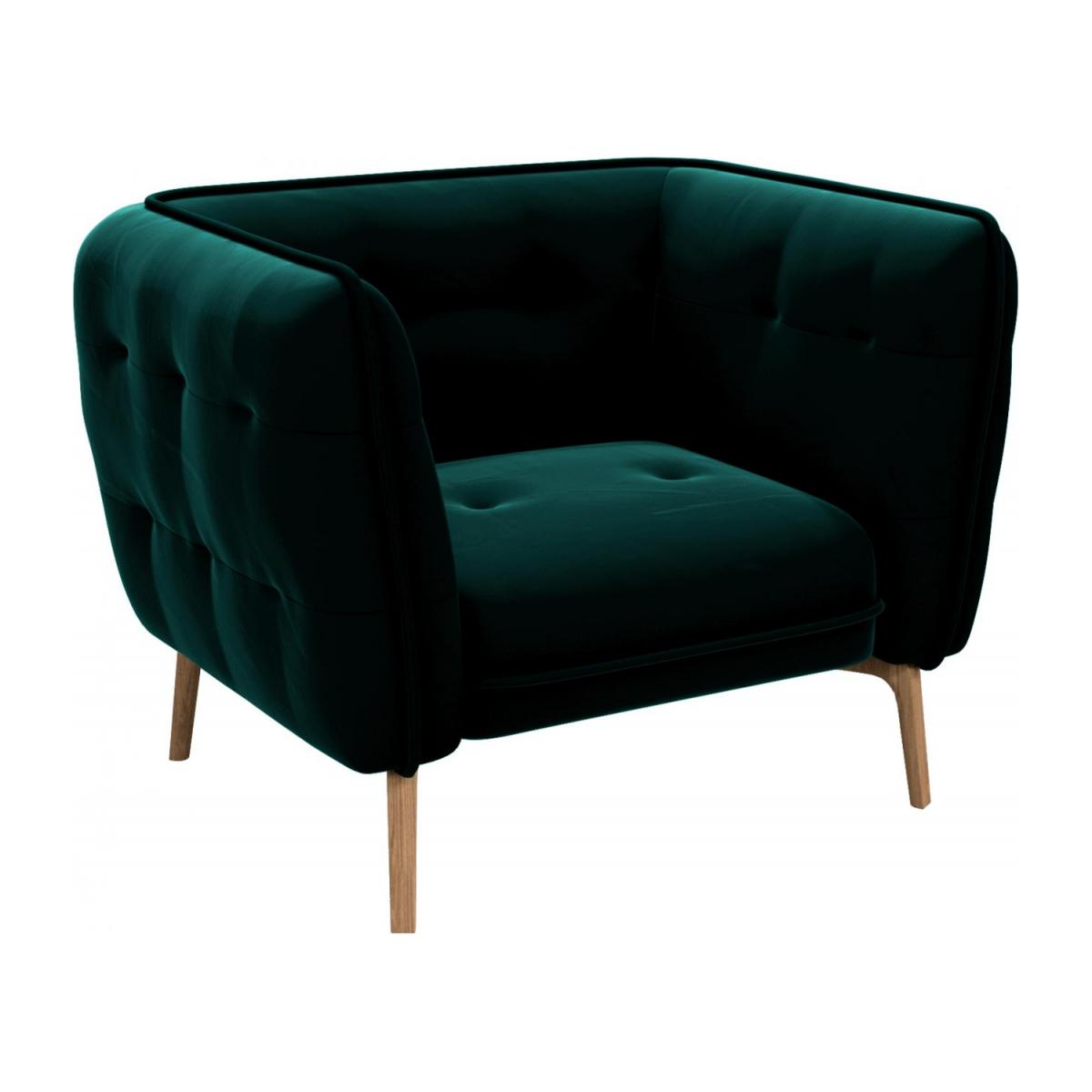 Armchair in Super Velvet fabric, petrol blue and natural oak feet n°1