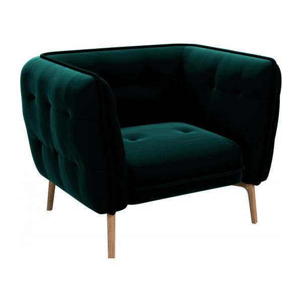 Armchair in Super Velvet fabric, petrol blue and natural oak feet