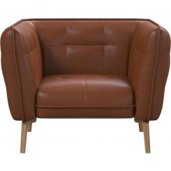 Armchair in Vintage aniline leather, old chestnut and natural oak feet