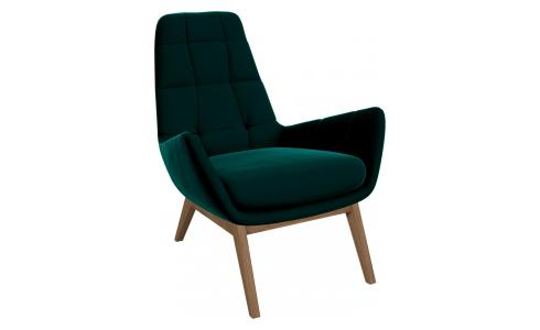 Armchair in Super Velvet fabric, petrol blue with oak legs