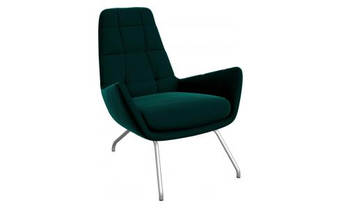 Armchair in Super Velvet fabric, petrol blue with matt metal legs