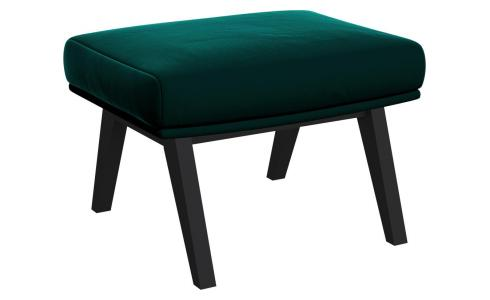 Footstool in Super Velvet fabric, petrol blue with dark legs