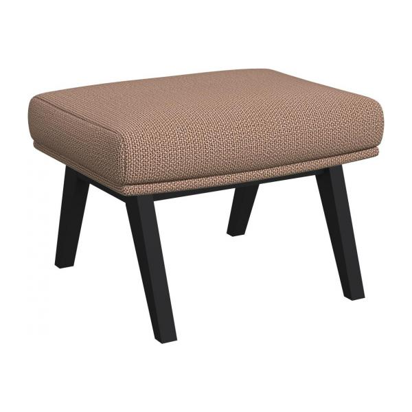Footstool in Fasoli fabric, Jatoba brown with dark legs