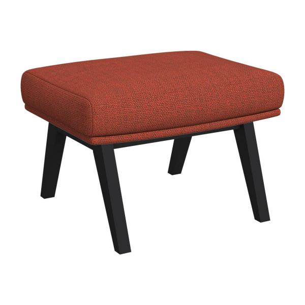 Footstool in Fasoli fabric, warm red rock with dark legs