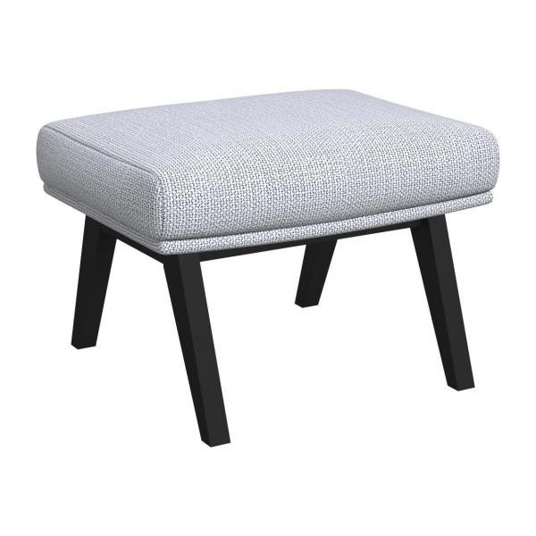 Footstool in Fasoli fabric, grey sky with dark legs