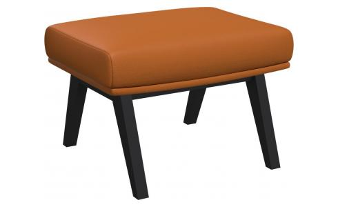 Footstool in Savoy semi-aniline leather, cognac with dark legs