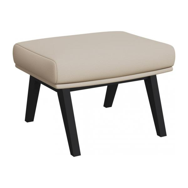 Footstool in Savoy semi-aniline leather, off white with dark legs