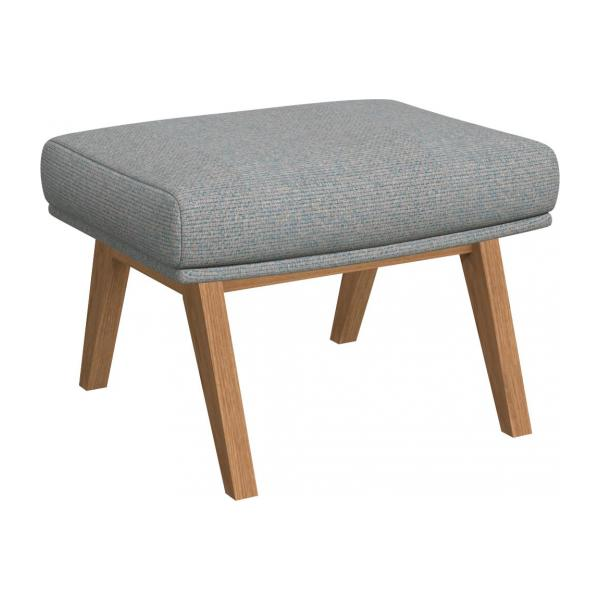 Footstool in Lecce fabric, blue reef with oak legs