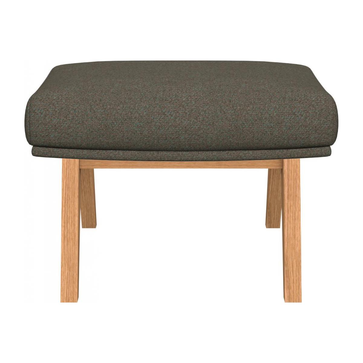 Footstool in Lecce fabric, slade grey with oak legs n°2